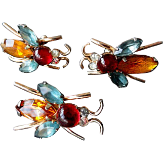 Coro Craft Sterling  A. Katz Insect Pin & Earrings Set 1947