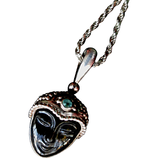 "Vintage SAJEN Sterling  Goddess Pendant Carved Onyx Face, Aquamarine Stone.  23"" Chain!"