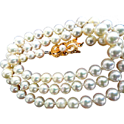 """Vintage 18K Mikimoto Cultured Pearls 6-5.5 mm & 19"""" Long!"""