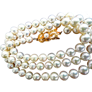 "Vintage 18K Mikimoto Cultured Pearls 6-5.5 mm & 19"" Long!"