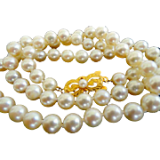 "Vintage 18K Mikimoto 19"" 6.5 – 6.0 mm Cultured Pearls!  Original Box!"