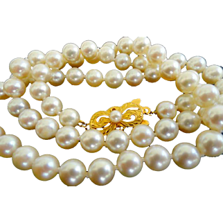 "Vintage 18K Mikimoto 19"" 6.5 – 6.0 mm Cultured Pearls!  Original Box!"