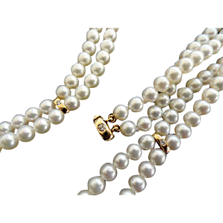 14K Double Strand T&Co Pearl Necklace with Diamonds!  Appraisal!