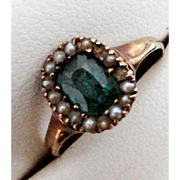 Antique 10K Rose Gold Emerald & Seed Pearl Ring  Size 5!  .75ct!