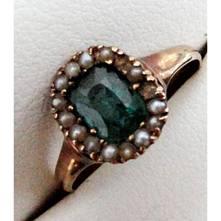 Antique 10K Rose Gold Emerald & Seed Pearl Ring  Size 5!