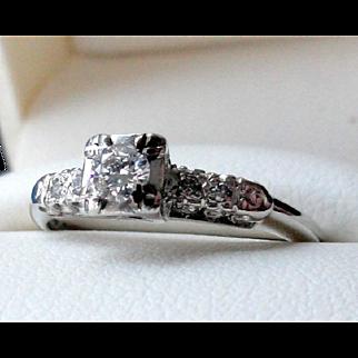 Reduced!  Platinum & Diamond Engagement Ring  Sz 7  Appraisal $3984!
