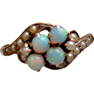 Allsopp Brothers 14K Opal & Seed Pearl Ring, Sz 8, approx. 1900!