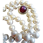 """Reduced!  Star Ruby, Pearl & Diamond Necklace!  10-9.5mm Pearls  21"""" Long, .70 Ct Diamonds!"""