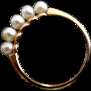 Estate 14K Mikimoto Cultured Pearl Ring, Size 5