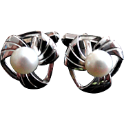 Vintage Mikimoto Sterling Cultured Pearl Cuff Links - Perfect!
