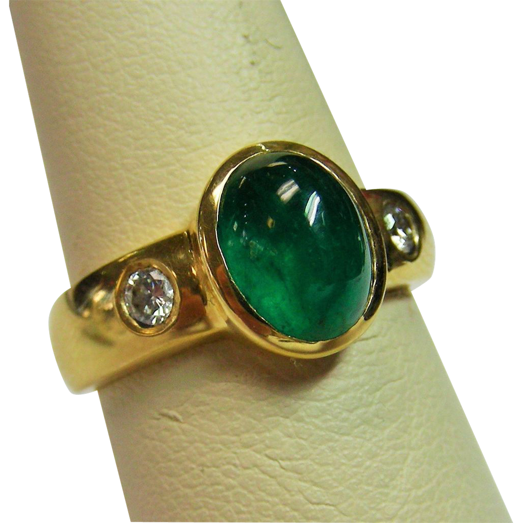 14k gold cabochon emerald and ring from rubylane