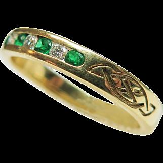14K Yellow Gold Emerald and Diamond Celtic Design Ring