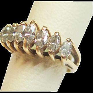 14K Yellow Gold Marquise Cut Diamond Pyramid Style Ring