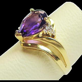 14K Yellow Gold Pear Cut Amethyst and Diamond Ring