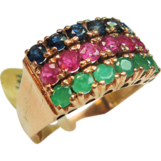 14K Yellow Gold Band with Channel set Rubies, Sapphires, and Emeralds