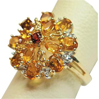 14K Yellow Gold Citrine, Garnet, and Diamond Cluster Style Ring