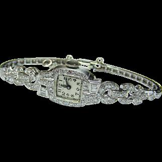 Amazing Platinum Art Deco Diamond Watch By Hamilton -Circa 1940
