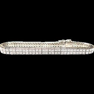 Platinum and Diamond Double Row Tennis Bracelet 10.52 cts!