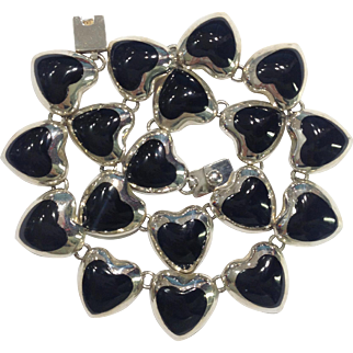 Mexico Silver 925 Onyx Heart Jewellery Set