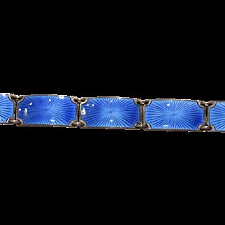 Finn Jensen Norwegian Silver and Blue Enamel Bracelet