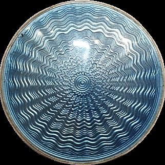Sky Blue Enamel Sterling Silver Brooch
