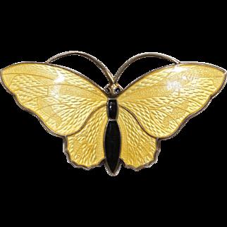 Bright Yellow Norwegian Enamel Butterfly Brooch