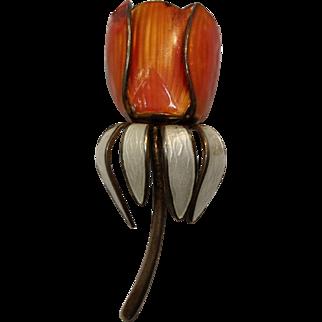 Vintage Norwegian Enamel Tulip Brooch
