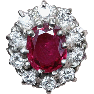 18k Antique Natural 1.05ct Ruby and Diamond Ring