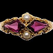 Georgian Garnet and Seed Pearl Ring