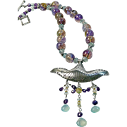 Angelic Necklace with Thai Pendant and Semiprecious Stones