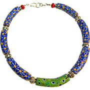 Old Venetian Millefiori Trade Beads Necklace By Estrella