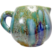 Small Arts and Crafts Pitcher with Crystalline Green over Blue Drip Glaze
