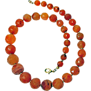 Faceted Natural Color Carnelian Necklace By Estrella