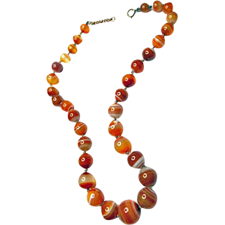 Victorian Banded Carnelian Necklace from England