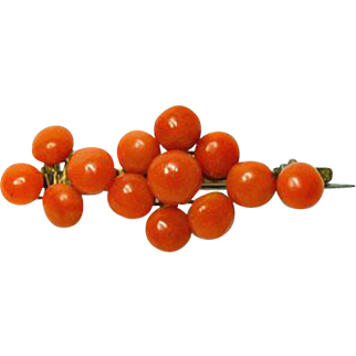 Antique Victorian Natural Red Coral Pin Brooch