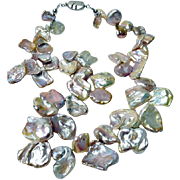 Lustrous Large Keishi Pearl Petal Necklace By Estrella