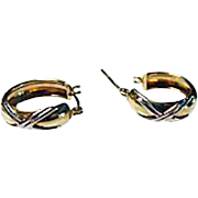 Vintage 10K Yellow and White Gold Hoop Earrings