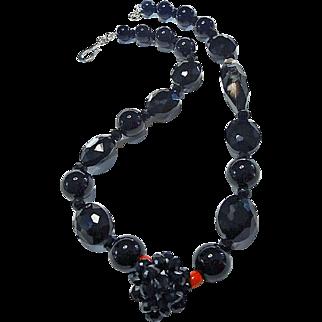 Stunning Black Onyx Necklace Adorned by Huge Jasper Bead. By Estrella