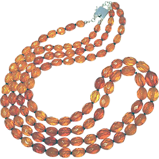 Two-Strand Deco Faceted Amber Necklace By Estrella