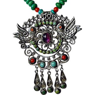 Necklace By Estrella With Vintage Brooch, Style of Matilde Poulat