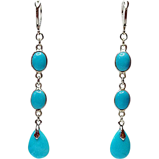 Sleeping Beauty Turquoise and Sterling Long Earrings By Estrella