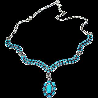 Vintage Sleepy Beauty Turquoise Zuni Necklace and Earrings