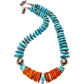 Nacozari Turquoise and Oyster Shell Necklace By Estrella