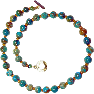 Scenic Peruvian Opal with Spessartite Garnet Necklace By Estrella