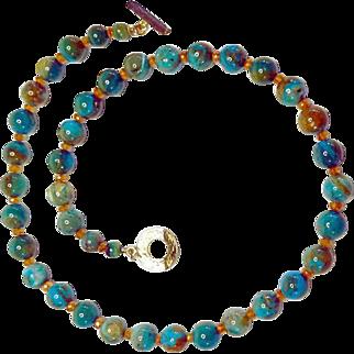 Scenic Peruvian Opal with Spessartite Garnet Necklace By Estrella