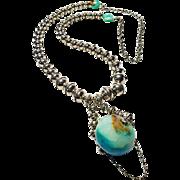 Navajo Pearls and Large Peruvian Opal Pendant By Estrella