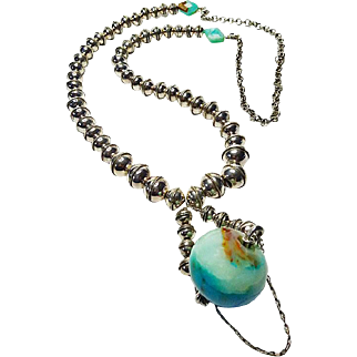 Navajo Pearls and Large Peruvian Opal Pendant By Estrella