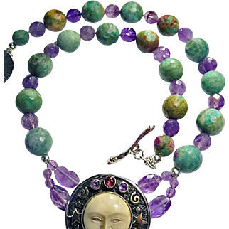 Large Chinese Turquoise Beads and Faceted Amethyst Moonface Necklace By Estrella
