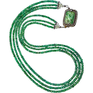 Faceted Emerald Necklace By Estrella With Exquisite Vintage Jade Clasp