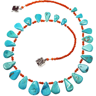 By Estrella Sleeping Beauty Turquoise Briolets and Mediterranean Coral Necklace